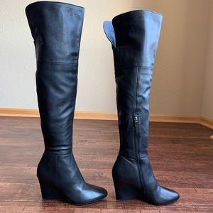 Via Spiga black leather wedge heel knee hi boots